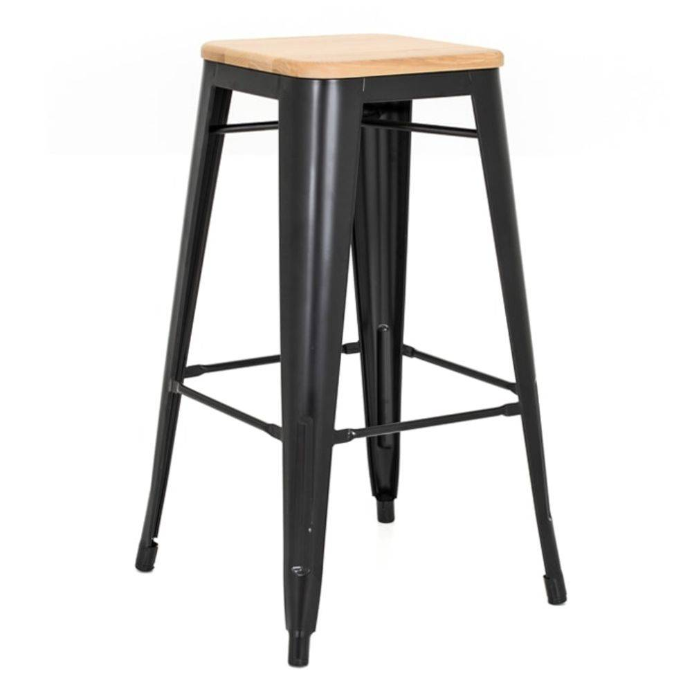 Banqueta Design Tolix Preta Assento em Madeira Pelegrin PEL-1514 Fixa em Metal