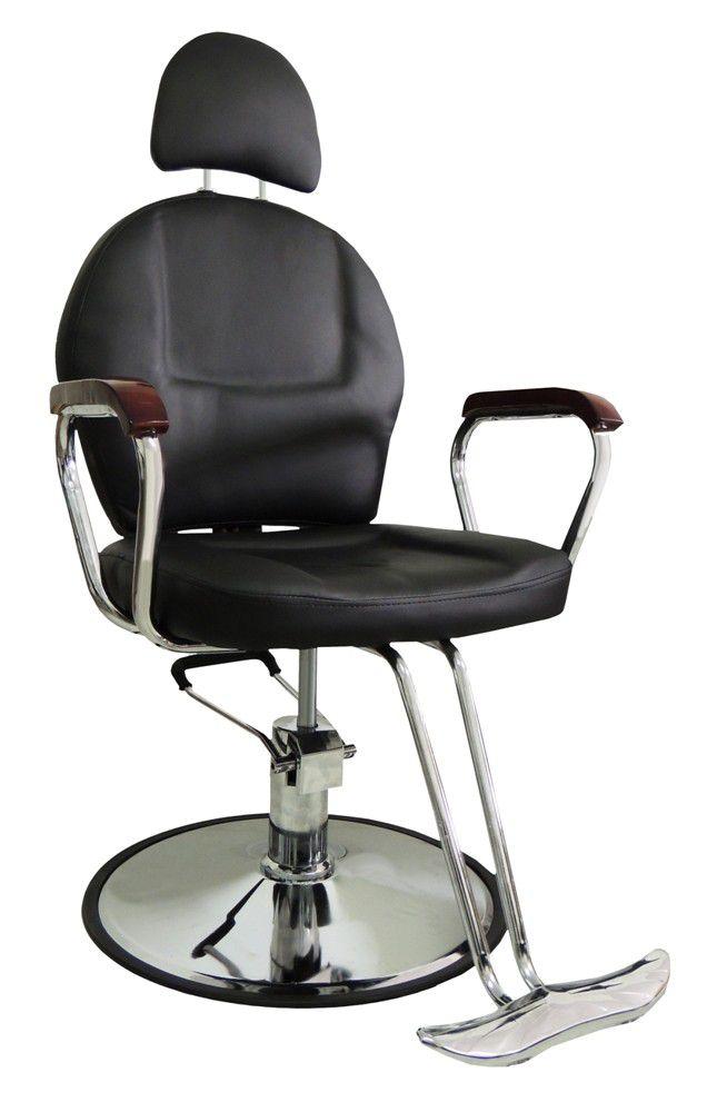 Cadeira Cabeleireiro Salão de Beleza Hidráulica Reclinável Bella Preta Couro PU - at.home