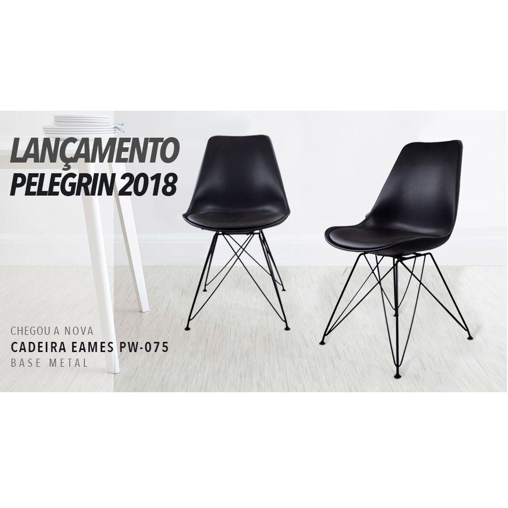 Cadeira Charles Eames Eiffel Preta Base Metal Pelegrin Pw-075