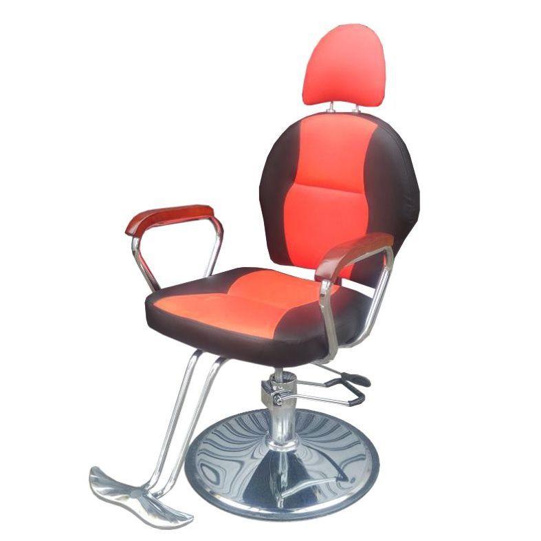 Cadeira de Barbeiro Hidráulica Reclinável Couro PU Preta e Vermelha Pelegrin PEL-1039