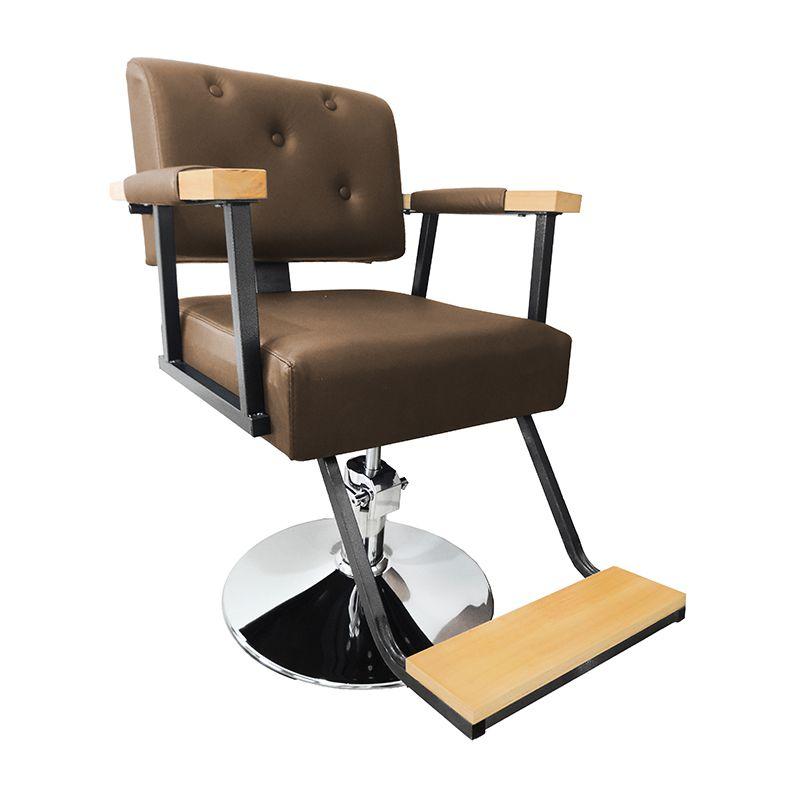 Cadeira de Barbeiro Hidráulica Retro Pelegrin PEL-1040 Marrom