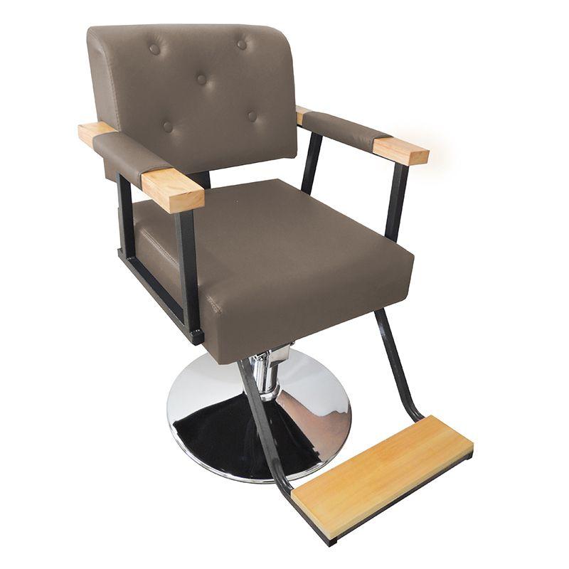 Cadeira de Barbeiro Hidráulica Retro Pelegrin PEL-1040 Marrom Claro