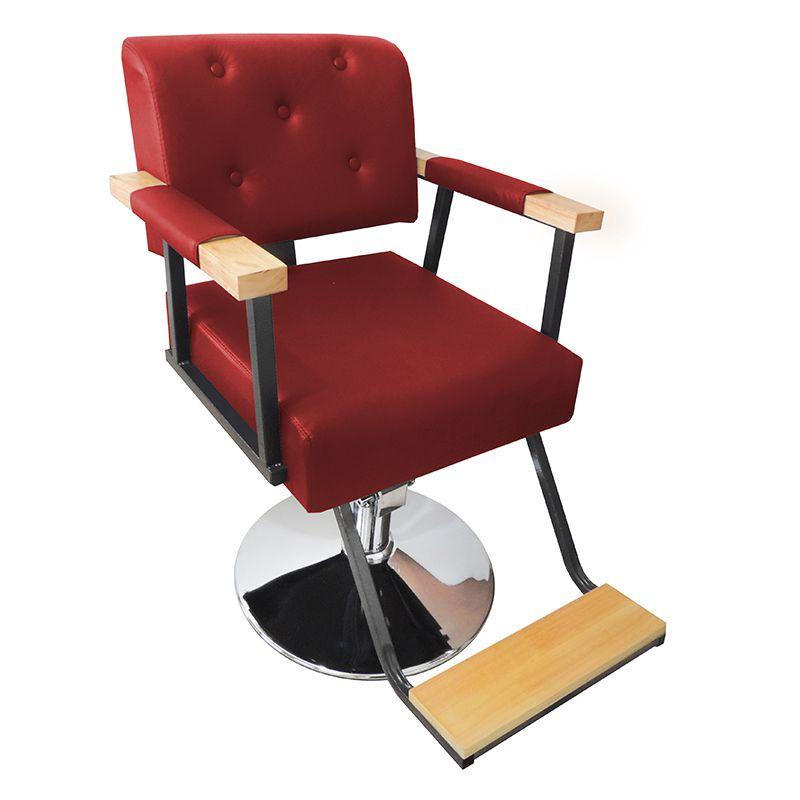 Cadeira de Barbeiro Hidráulica Retro Pelegrin PEL-1040 Vermelha
