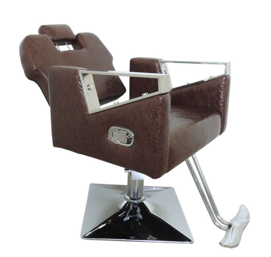 Cadeira de Barbeiro Reclinável Pelegrin Couro PU Marrom  PEL-S040