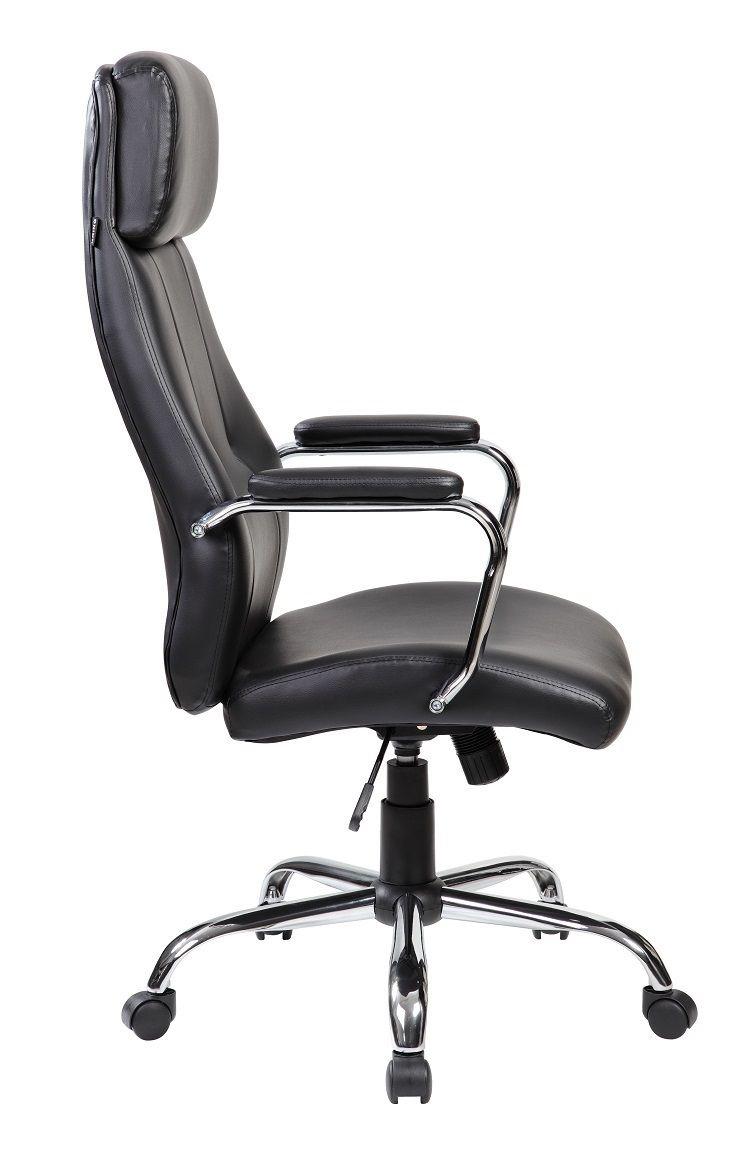 Cadeira de Escritório Presidente Pelegrin em Couro PU PEL-9027 Preta