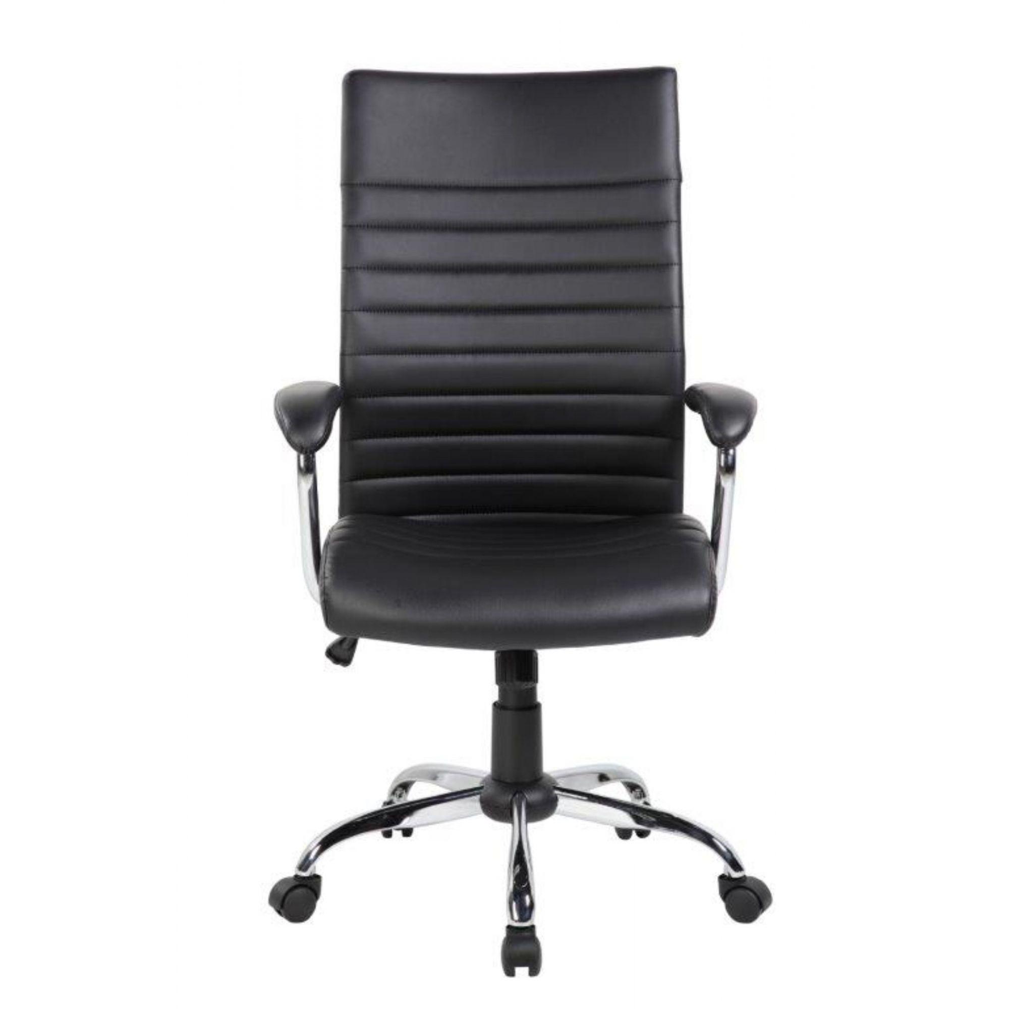 Cadeira de Escritório Presidente em Couro PU Pelegrin PEL-9023H Preta