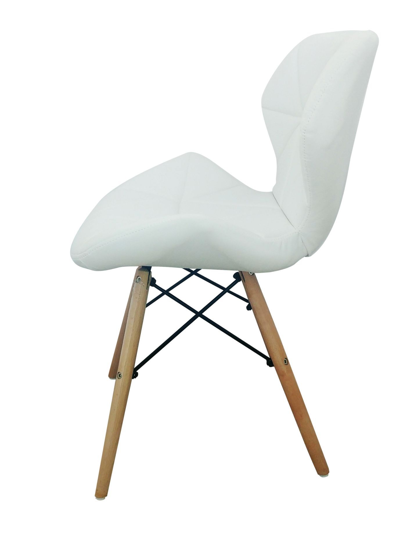 Cadeira Design Charles Eames Couro PU Pelegrin PEL-1104 Branca
