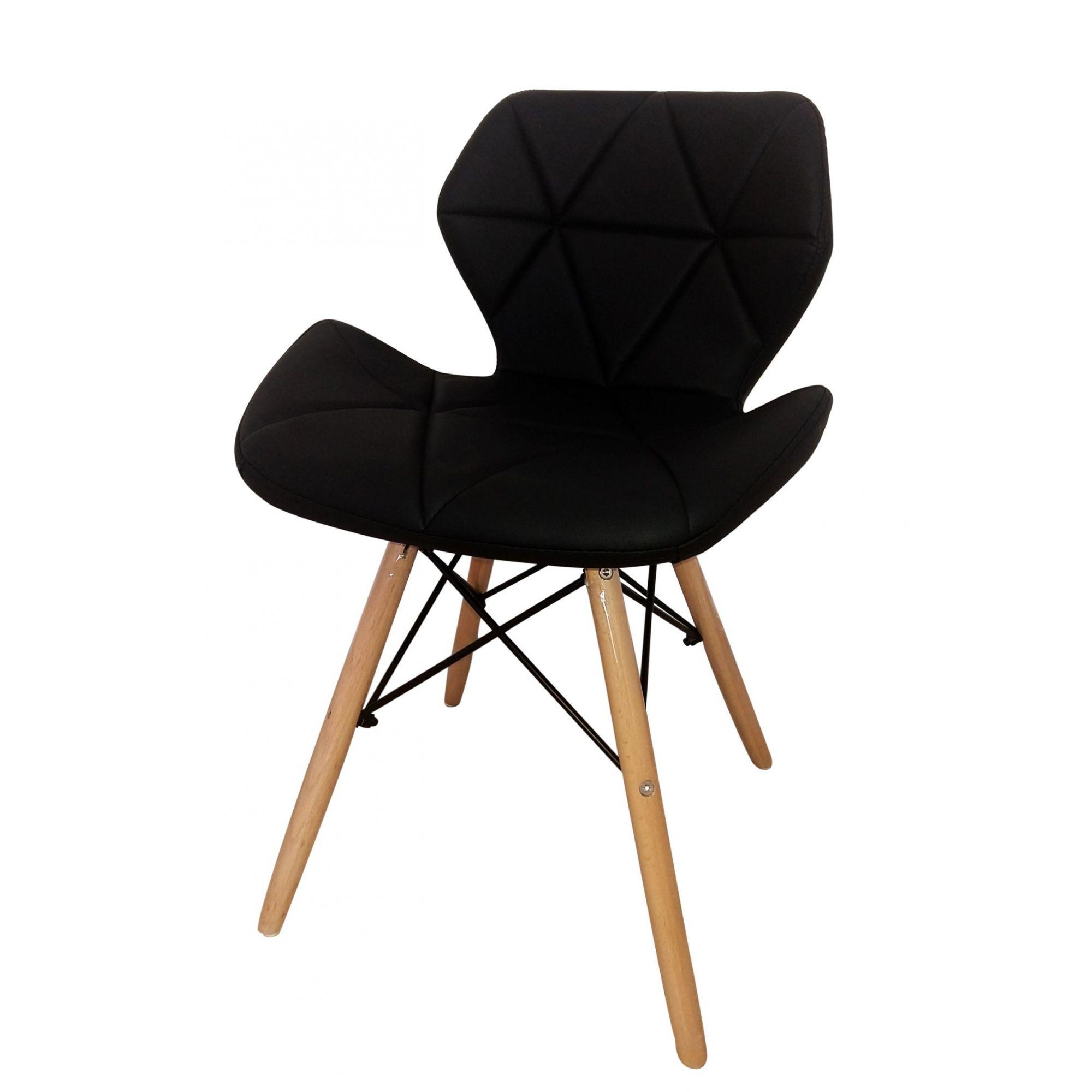 Cadeira Design Charles Eames Couro PU Pelegrin PEL-1104 Preta