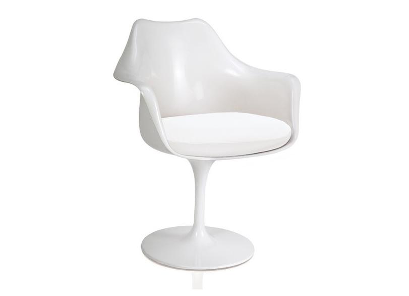Cadeira Design Saarinen Pelegrin PEL-1866H Giratória Branca em ABS com Apoio de Braço