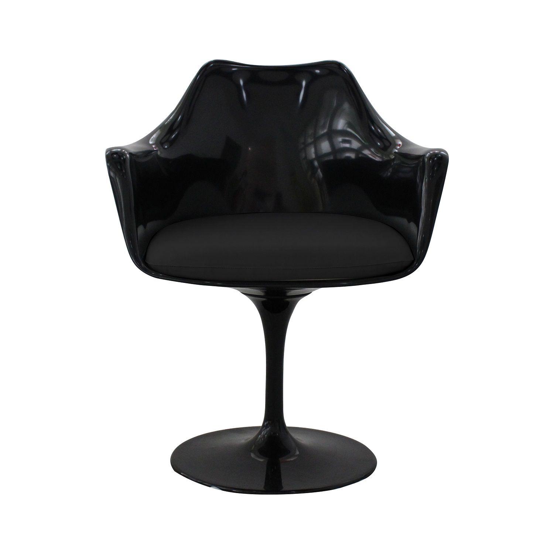Cadeira Design Saarinen Pelegrin PEL-1866H Giratória Preta em ABS com Apoio de Braço