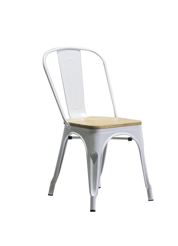 Cadeira Design Tolix Branca Industrial Vintage Metal Assento Madeira  - Orb
