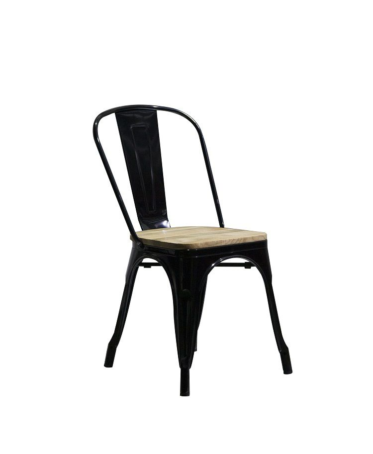 Cadeira Design Tolix Preta Industrial Vintage Metal Assento Madeira  - Orb