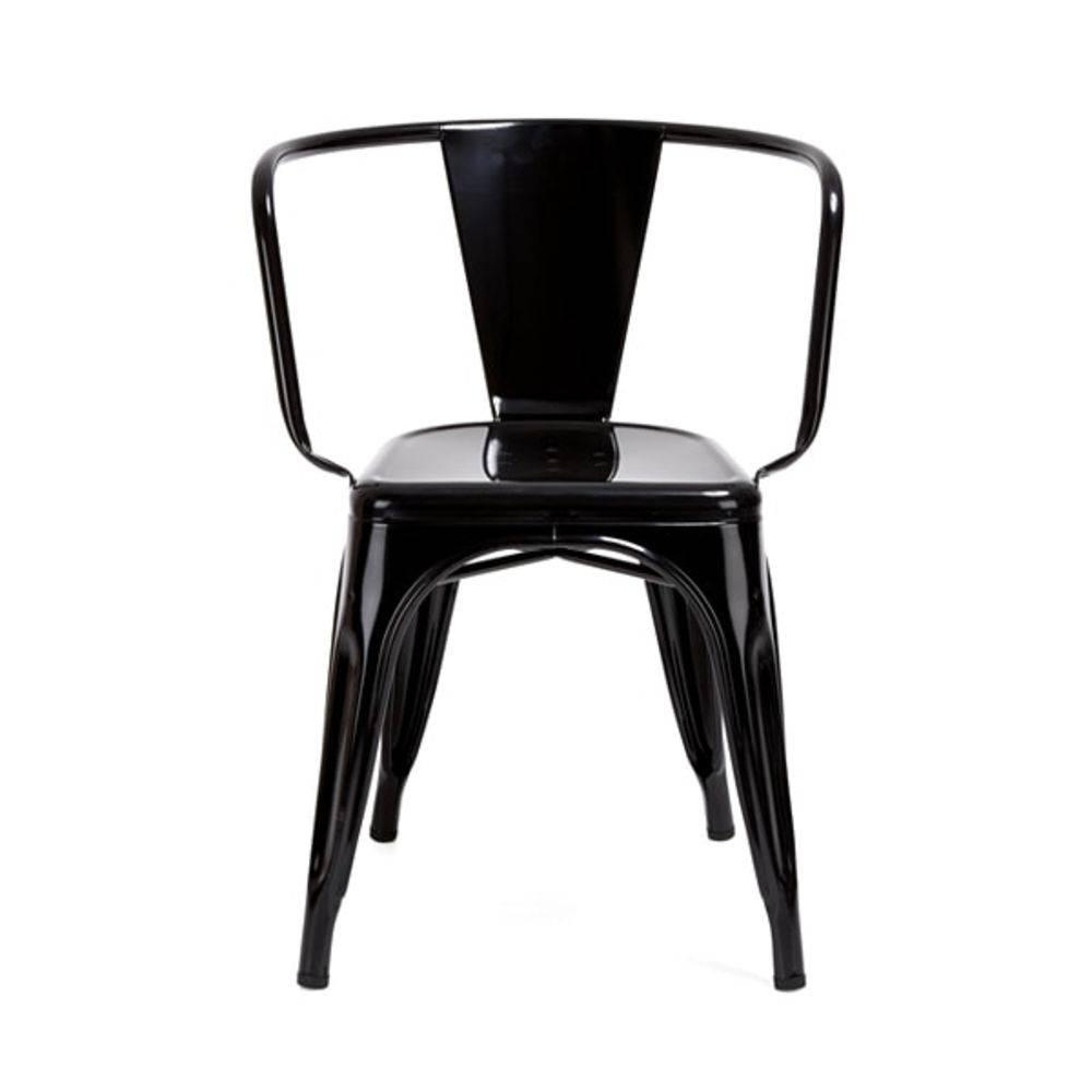 Cadeira Design Tolix Preta Industrial Vintage Metal com Braços  - Orb