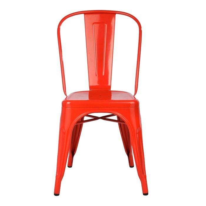 Cadeira Design Tolix Preta Vermelha Vintage Metal - Orb