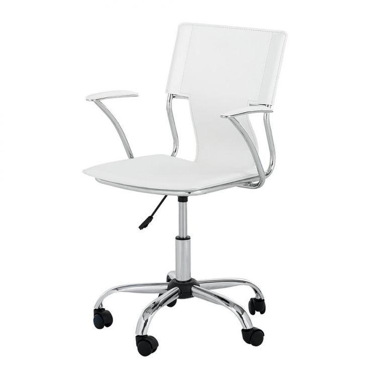 Cadeira Diretor Executiva Giratória Branca em Couro Sintético Ideal - Orb