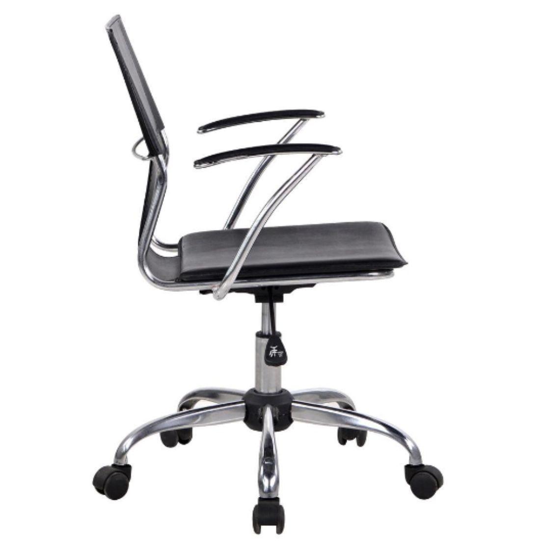 Cadeira Diretor Executiva Giratória Preta em Couro Sintético Ideal - Orb