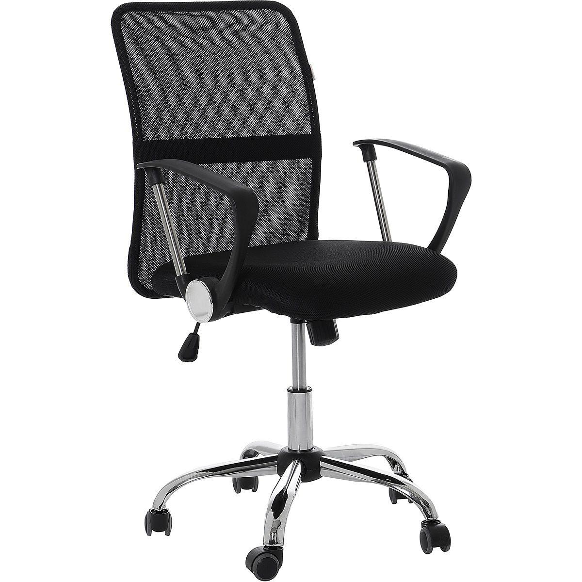Cadeira Escritório Executiva Giratória Pelegrin Preto Regulagem De Altura a Gás Tela PEL-501