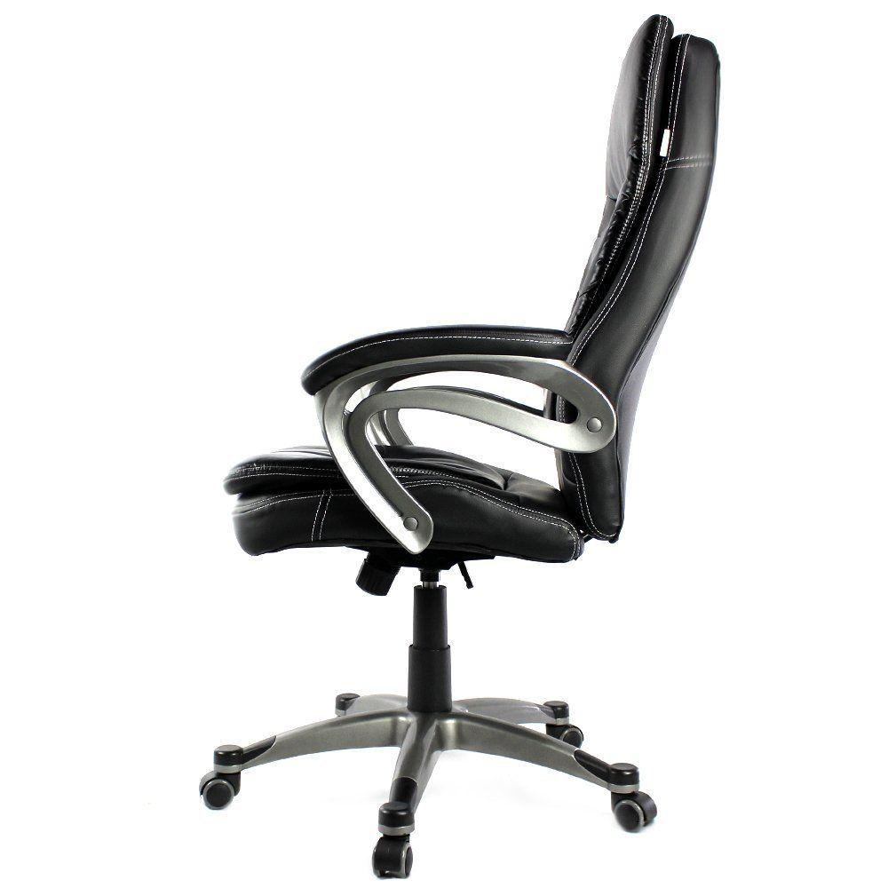 Cadeira Escritório Presidente Giratória Classic Marrom Regulagem de Altura a Gás Couro PU - at.home