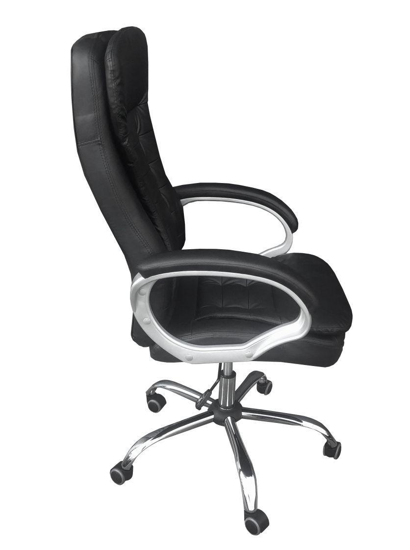 Cadeira Escritório Presidente Giratória Kennedy Preto Regulagem De Altura a Gás Couro PU - at.home