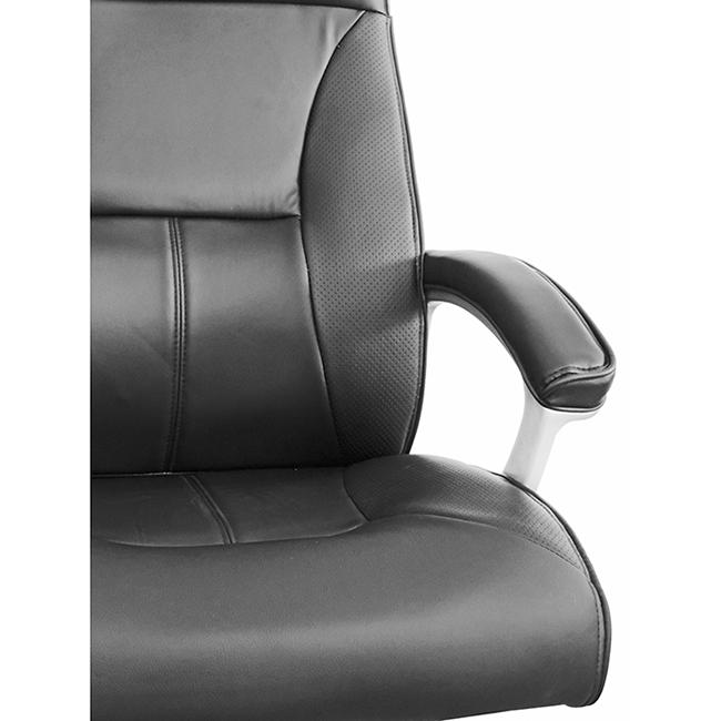 Cadeira Escritório Presidente Giratória Lux Preto Regulagem De Altura a Gás Couro PU - at.home