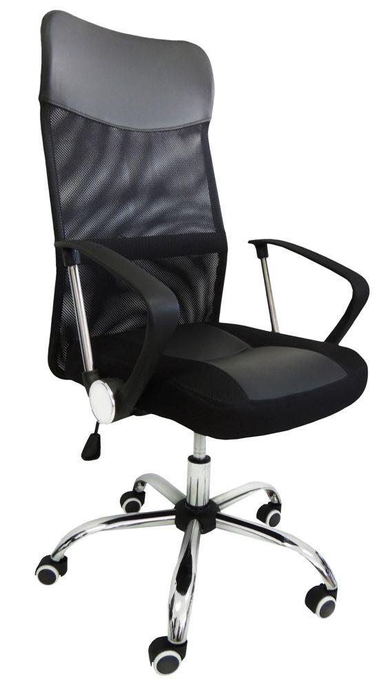Cadeira Escritório Presidente Giratória Preto Regulagem De Altura a Gás Tela Pelegrin PEL-8009 - 2041