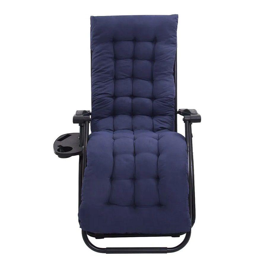 Cadeira Espreguiçadeira Pelegrin Cinza  PEL-005Z Gravidade Zero Estofada Azul Marinho