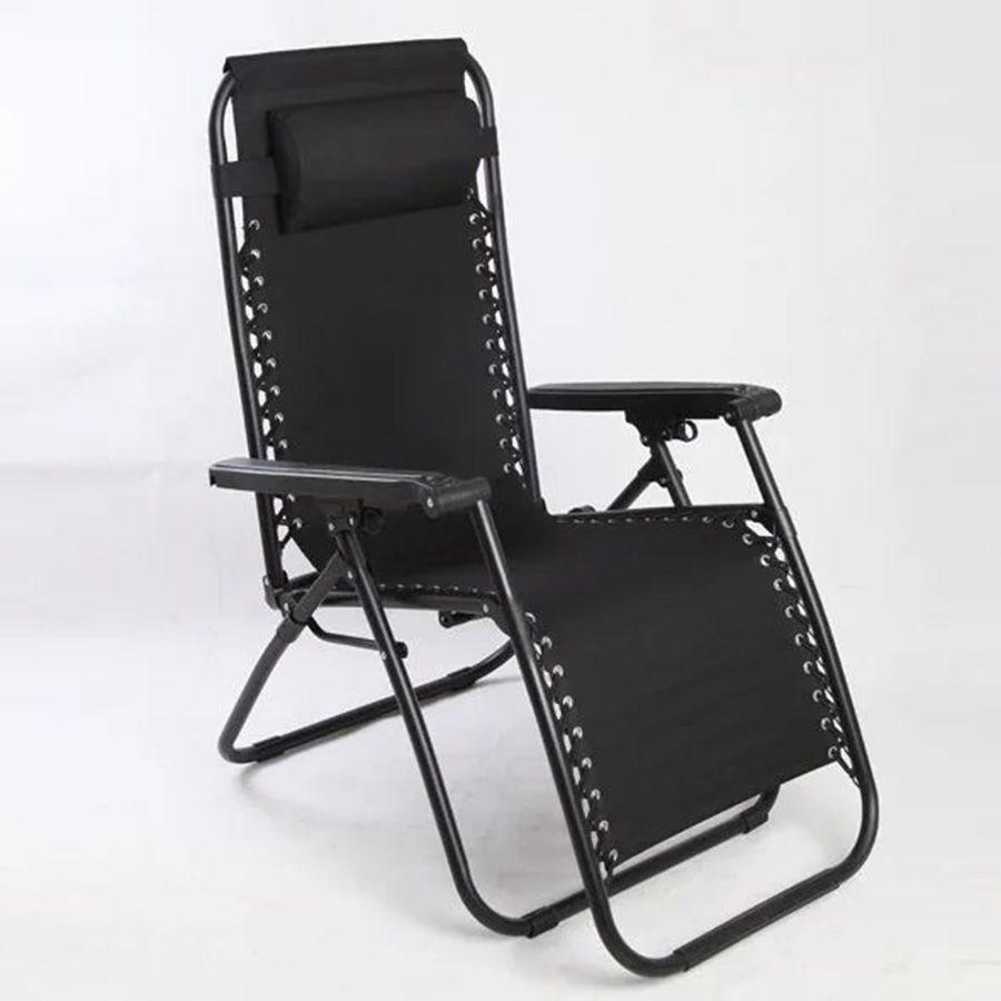 Cadeira Espreguiçadeira Pelegrin PEL-003Z Gravidade Zero em Tecido e Metal Preta