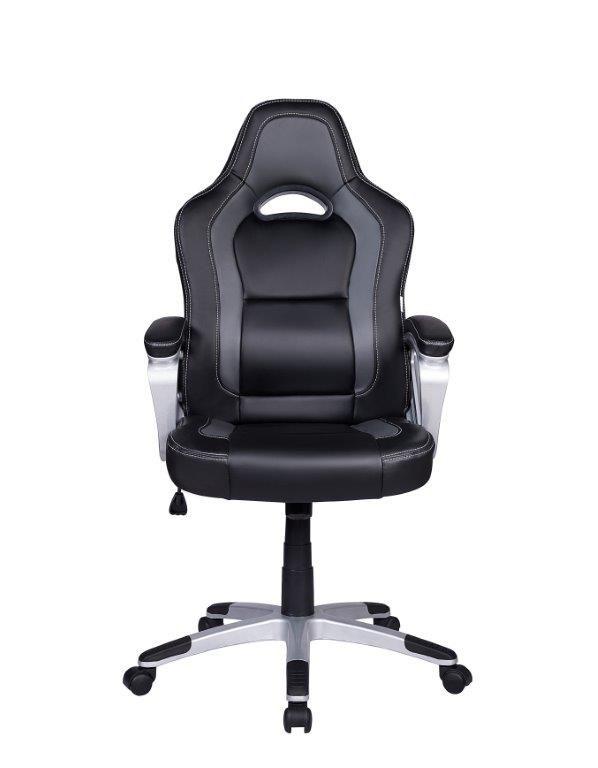Cadeira Gamer em Couro PU Pelegrin PEL-3007 Preta e Cinza