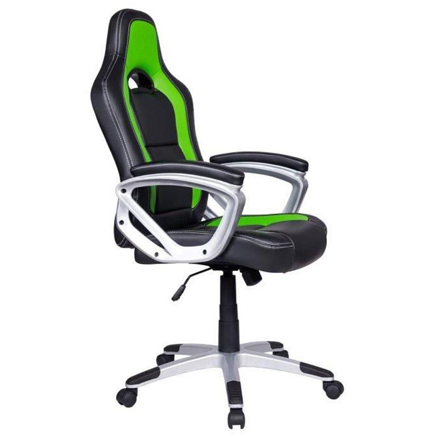 Cadeira Gamer em Couro PU Pelegrin PEL-3007 Preta e Verde