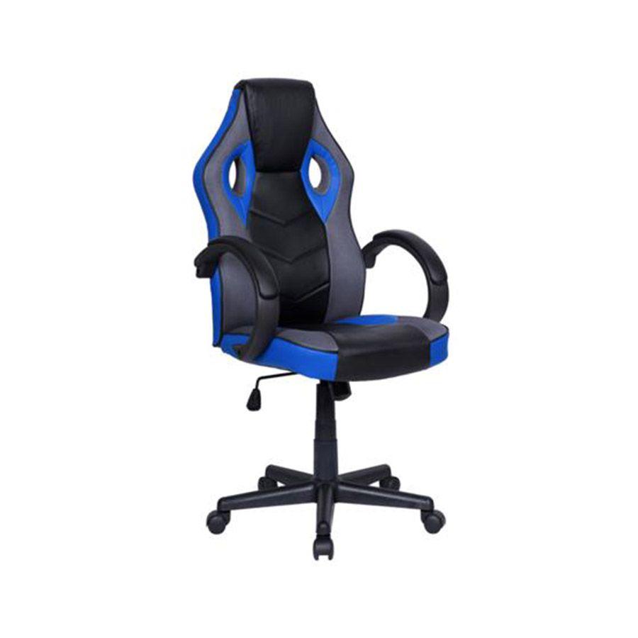 Cadeira Gamer em Couro PU Pelegrin PEL-3016 Preta e Azul