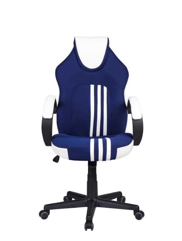Cadeira Gamer Giratória Azul Preta e Branca Stripes  - at.home