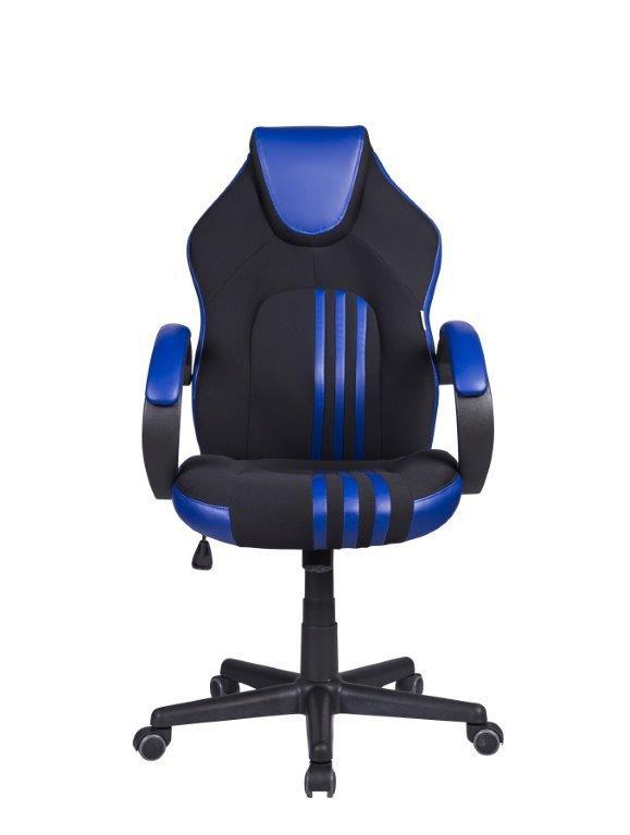 Cadeira Gamer Giratória Preta e Azul Stripes - at.home