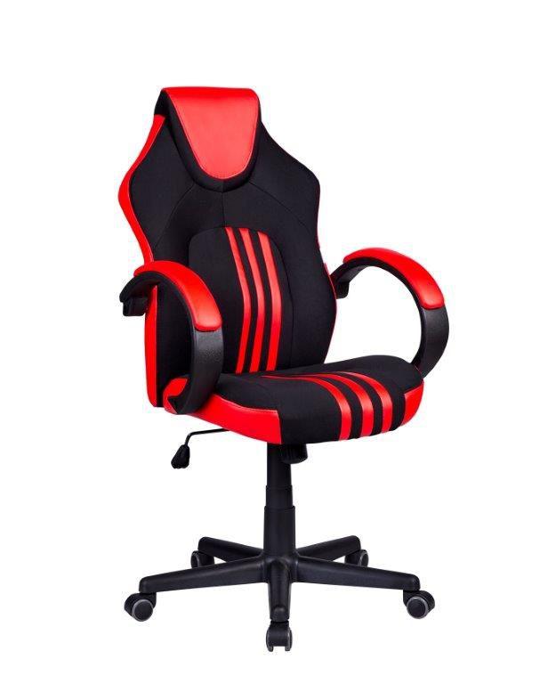 Cadeira Gamer Giratória Preta e Vermelha Stripes - at.home