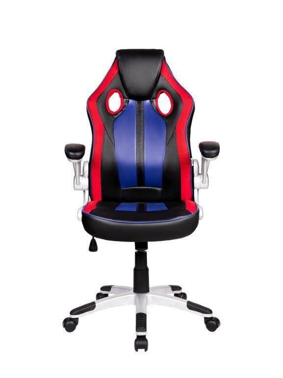 Cadeira Gamer Giratória Preta, Vermelha e Azul Squad - at.home