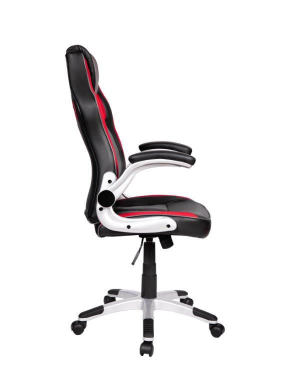 Cadeira Gamer Giratória Preta, Vermelha e Cinza Squad- at.home