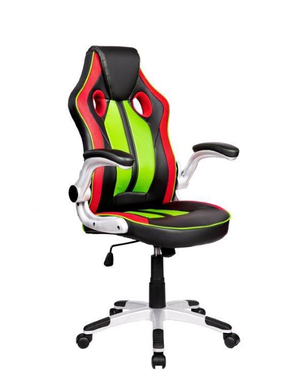 Cadeira Gamer Giratória Preta, Vermelha e Verde Squad - at.home