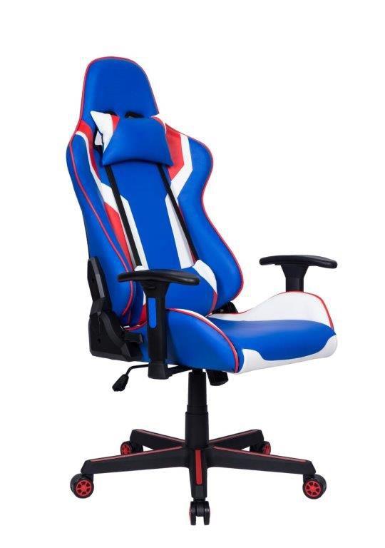 Cadeira Gamer Giratória Reclinável Azul Vermelha e Branca Dota - at.home