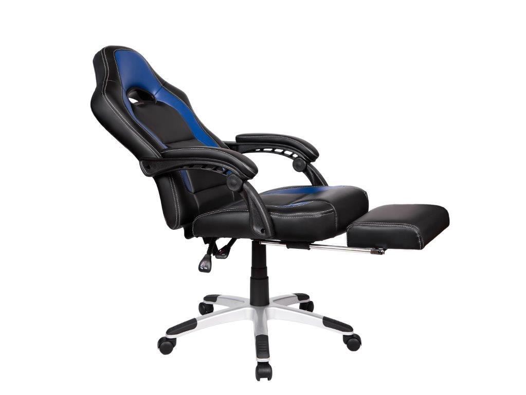Cadeira Gamer Giratória Reclinável c/ apoio para pés Azul e Preta Solo - at.home