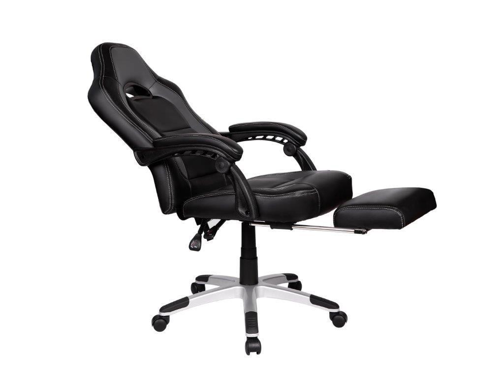 Cadeira Gamer Giratória Reclinável c/ apoio para pés Cinza e Preta Solo - at.home