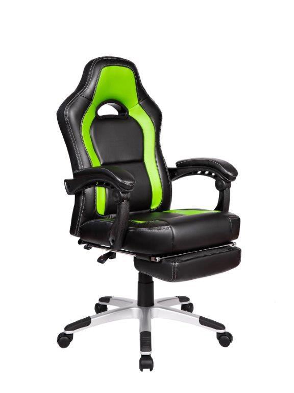 Cadeira Gamer Giratória Reclinável c/ apoio para pés Verde e Preta Solo - at.home