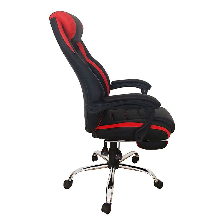 Cadeira Gamer Giratória Reclinável c/ apoio para pés Vermelha e Preta Royale- at.home