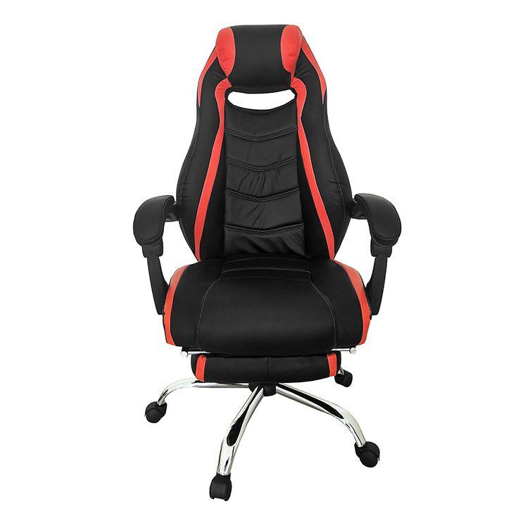 Cadeira Gamer Giratória Reclinável c/ apoio para pés Vermelha e Preta Royale - at.home