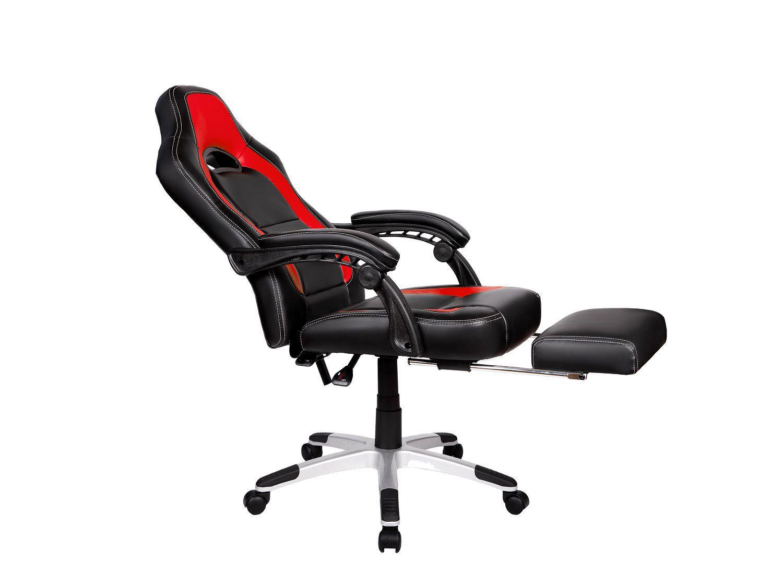 Cadeira Gamer Giratória Reclinável c/ apoio para pés Vermelha e Preta Solo - at.home