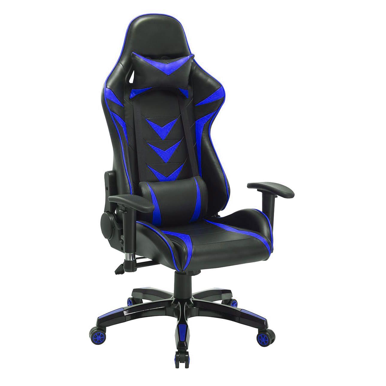 Cadeira Gamer Giratória Reclinável c/ Braço Ajustável Azul e Preta Arena - at.home