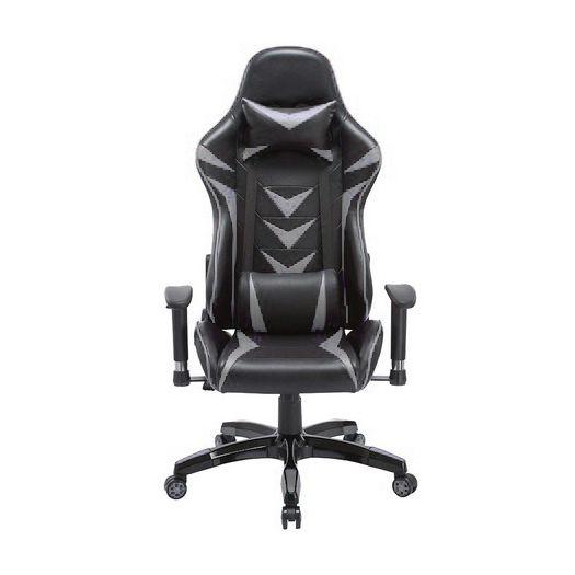 Cadeira Gamer Giratória Reclinável c/ Braço Ajustável Cinza e Preta Arena - at.home