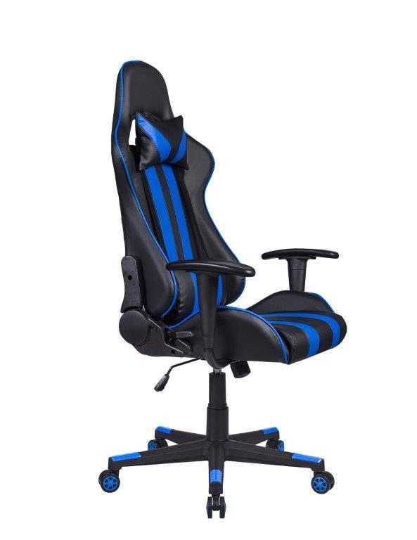 Cadeira Gamer Giratória Reclinável Preta e Azul Nite - at.home