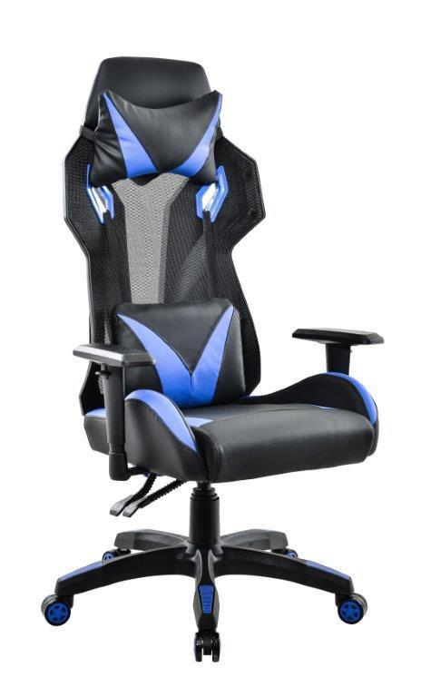 Cadeira Gamer Giratória Reclinável Preta e Azul Strike - at.home