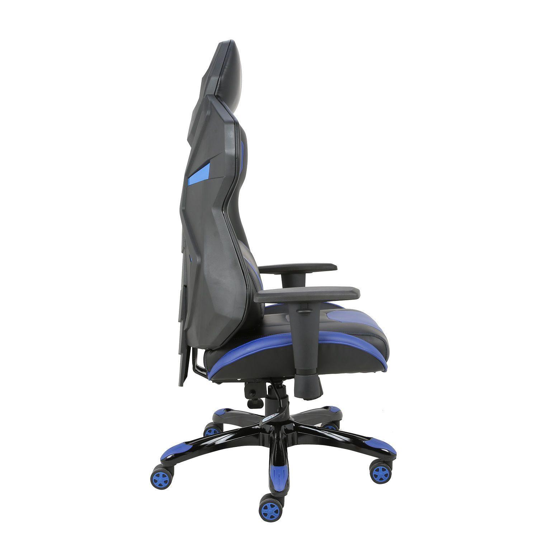 Cadeira Gamer Giratória Regulável Reclinável + Braço com ajuste de altura + Sistema Relax Azul Victory - at.home