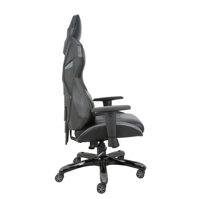 Cadeira Gamer Giratória Regulável Reclinável + Braço com ajuste de altura + Sistema Relax Cinza Victory - at.home