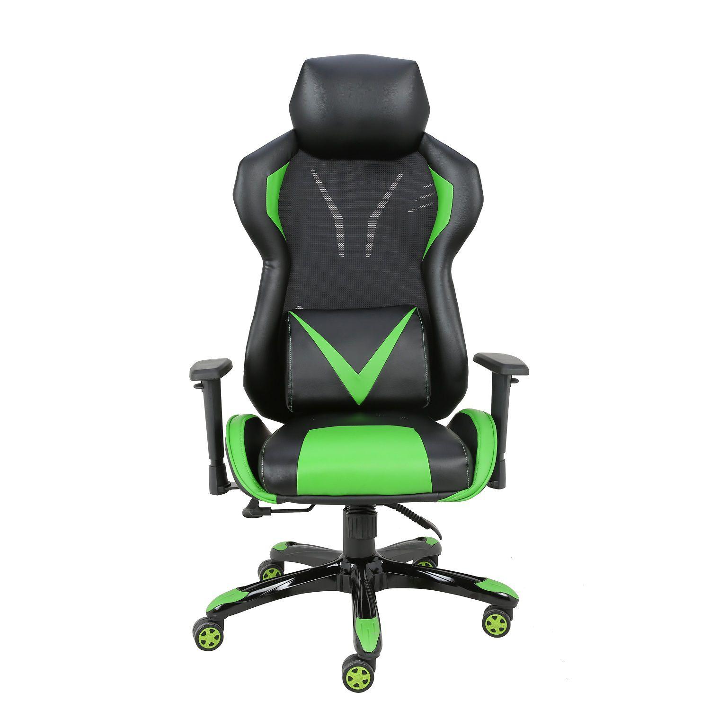 Cadeira Gamer Giratória Regulável Reclinável + Braço com ajuste de altura  + Sistema Relax Verde Victory  - at.home